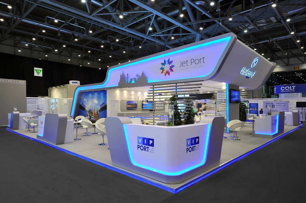 exhibition stand design for  Aurora Aviation at EBACE exhibition Geneva